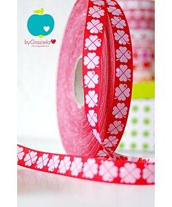 Farbenmix dekorband Lyckoklöver röd 3 m