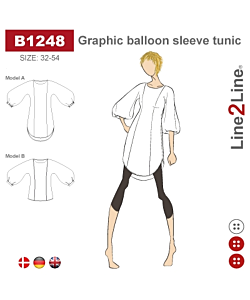 Line2Line Graphic balloon sleeve tunic