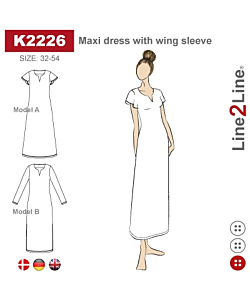 Line2Line Maxi dress with wing sleeve